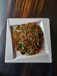 Japchae is a dish of vegetables and meat (if you wish)