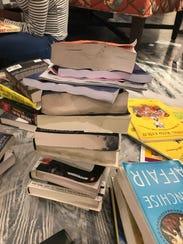 Water damaged books at Midtown Reader.