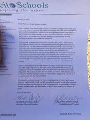 Incito Schools sent a letter to parents after five