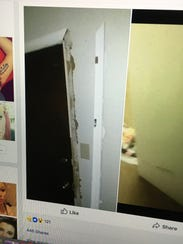 A picture of a damaged door that was posted on Rachel