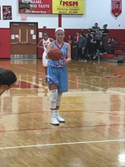Ally Johnson gets ready to shoot a free throw Tuesday