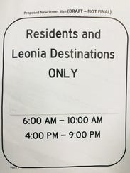 A draft of Leonia's proposed traffic sign.