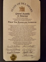 Philip Livingston received a posthumous tribute from