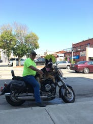 Molly the Motorcycle Dog and her owner Jim Tremmel