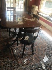 Parts of the Cerf dining room ceiling fallen down after