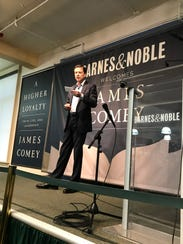 James Comey speaks at Barnes & Noble.