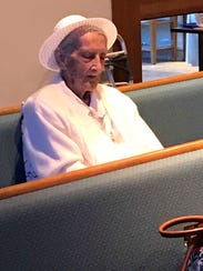 Sister Marie Alice LaGace, who attends Mass daily at