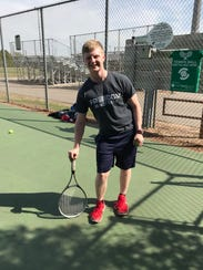Senior Mathias Kroening began his Pacelli tennis career