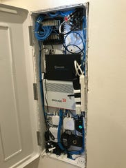 The interior of the master Internet wiring panel in an Amazon Experience Center at a Lennar home development in Vallejo, Calif. The homes all come with Wi-Fi, smart thermometers, lighting, doorbells and locks pre-installed, and Amazon's voice-activated Alexa personal assistant devices to run them. The experience offers customers the chance to interact with the technology in a real-life setting.