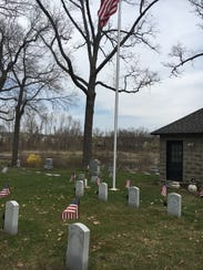 Memorials for unknown soldiers at Oak Grove Cemetery in Milford.