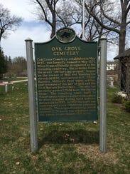 Historical marker in Oakgrove Cemetery in Milford.