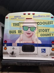 An example of an advertisement on the back of a bus