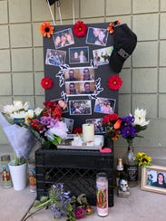 A makeshift memorial was placed outside the Visalia