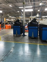 SeaPro engines along the new assembly line at Mercury Marine.