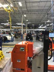 A look down the assembly line at Mercury Marine.