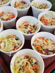 Cool and colorful cole slaw at the Holy Rosary social