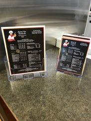 Bob's Pizza menus feature the new logo.