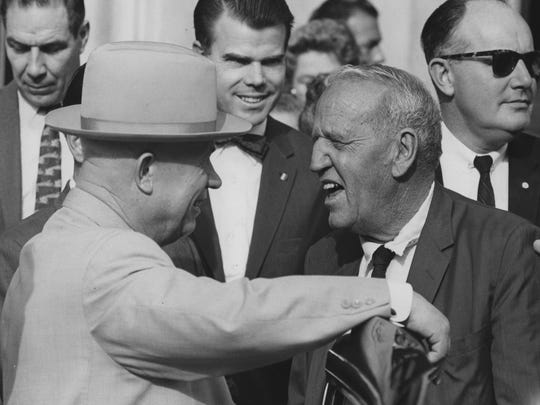 Nikita Khruschev and Roswell Garst prepare to leave for Garst's Coon Rapids farm in 1959.