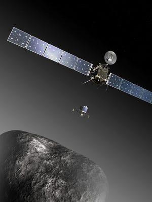 An artist's impression shows the Rosetta orbiter deploying the Philae lander to comet 67P/Churyumov-Gerasimenko.