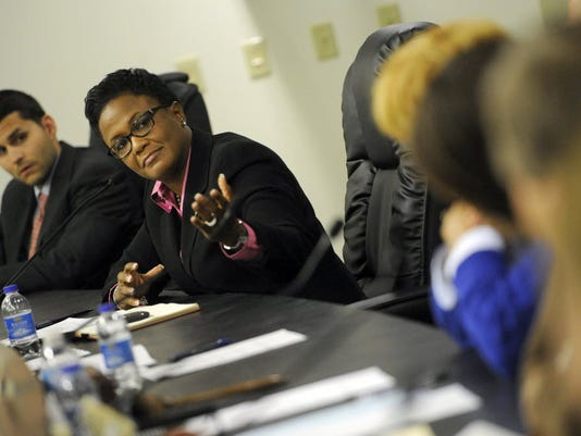 This file image by Jason Plotkin shows York Mayor Kim Bracey at a York City Council meeting. Bracey was honored by a state Democratic group, and recently announced she'll run for reelection.