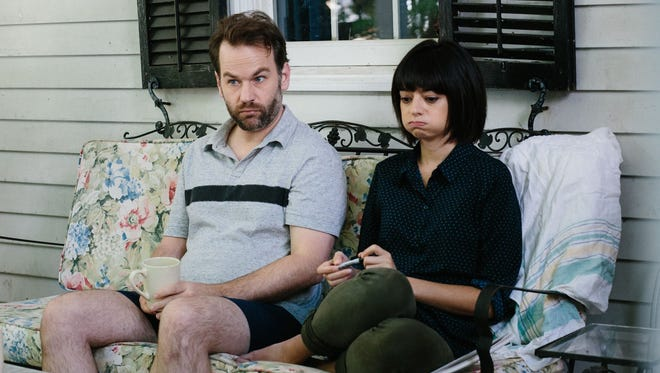 """Jon Pack/TFA  Mike Birbiglia and Kate Micucci are members of an improv group that watches a colleague go big in ?Don?t Think Twice.? In this image released by TFA, Mike Birbiglia, left, and Kate Micucci appear in a scene from, """"Don't Think Twice."""" (Jon Pack/TFA via AP)"""