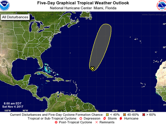 A graphic issued by the National Hurricane Center at