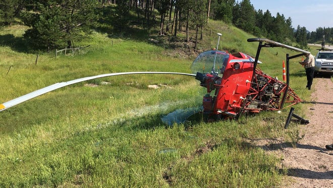 One person was injured when a helicopter went down near Custer on Thursday.