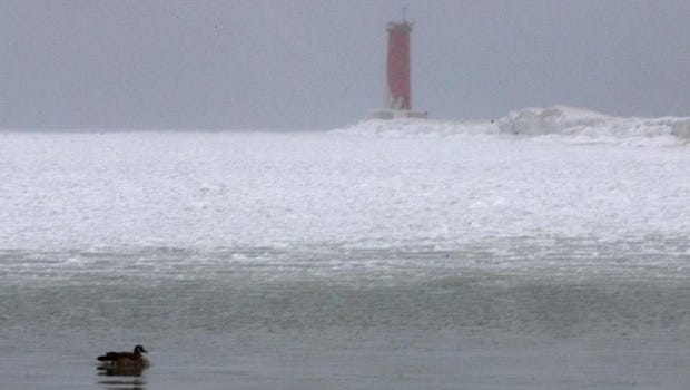 A duck paddles in the frigid Lake Michigan waters January 1, 2014 in Sheboygan.