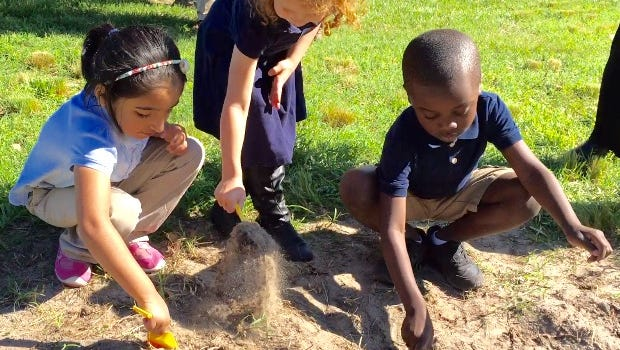 In this June 9, 2016 photo, students at West Salisbury Elementary School participate in a groundbreaking for a new school building at the location. State, Wicomico County and Salisbury officials and community leaders were on hand for the ceremony. Each of the 300 or more students at the school were handed miniture yellow shovels to participate.