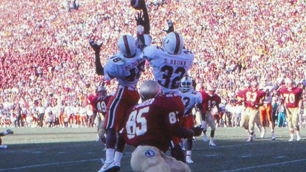 The potential game-winning two-point conversion pass to Pat Carter is broken up at the end of the famed 1987 FSU-Miami game.