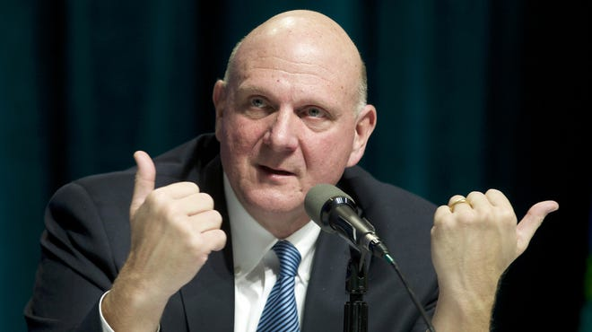Microsoft CEO Steve Ballmer responds to a shareholder question during the Microsoft Shareholders Annual Meeting Nov. 19, 2013,, in Bellevue, Wash.