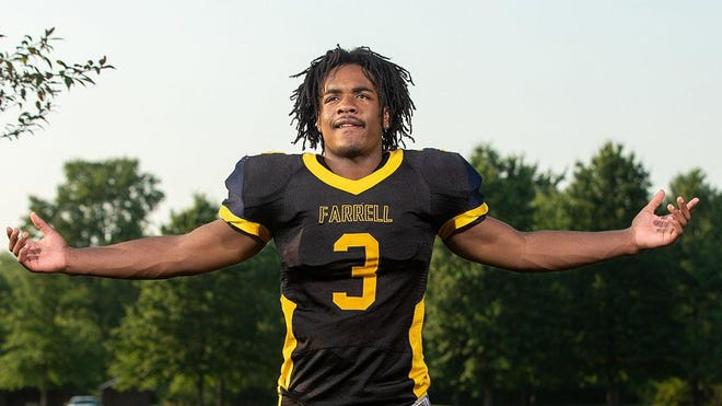 Farrell High School's Anthony Stallworth, RB/DL, is shown at Hickory High School on July 9, 2020.
