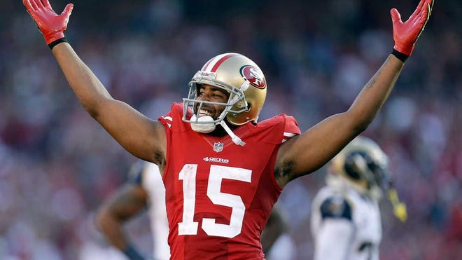 Former Texas Tech wide receiver Michael Crabtree, shown here celebrating a touchdown for the San Francisco 49ers, will be the sixth inductee into the Tech football Ring of Honor. Crabtree's selection was announced Thursday, and he will be inducted during the 2021 season.