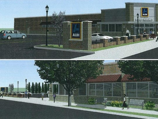Aldi's plan for a North Winton Road property north of Blossom Road, shown here in renderings from 2015.