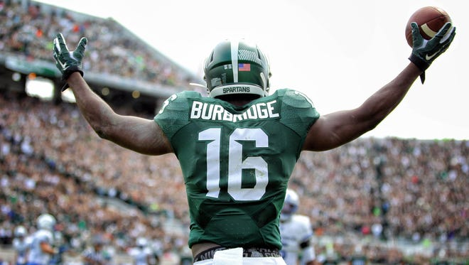 Michigan State receiver Aaron Burbridge celebrates a touchdown catch against Air Force in 2015. He was drafted in the sixth round of the 2016 NFL Draft by the San Francisco 49ers.