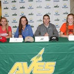 Sycamore athletes signed their letters of intent to play college athletics Nov. 12. They were, from left: Alexa Abele, Davidson College, women?s tennis; Kellen Alsip, University of North Carolina ? Asheville, women?s golf; Tommy Barnhorst, Jacksonville University, men?s lacrosse; Mary Fry, University of Illinois, women?s swimming.