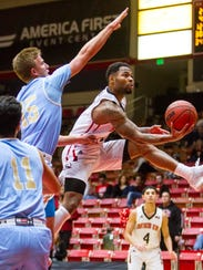 SUU's Brandon Better drives to the basket during the