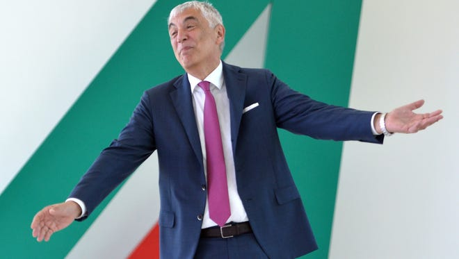 The CEO of Italy's Alitalia airline, Gabriele De Torchio, poses as he arrives for a press conference on July 3, 2013 at Rome's Fiumicino Airport.