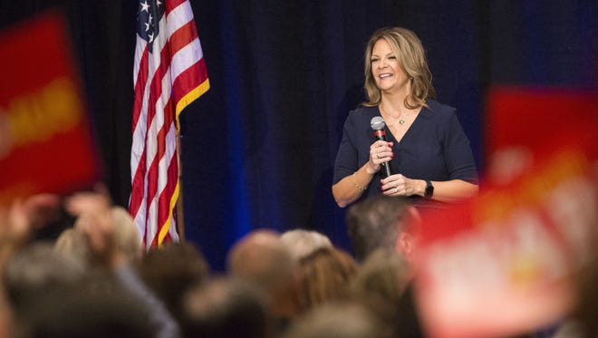 Kelli Ward speaks to supporters during her U.S. Senate campaign kickoff event at the Hilton Scottsdale Resort on Oct. 17, 2017.