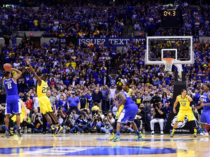 Kentucky guard Aaron Harrison's three to lift the Wildcats past Michigan and into the Final Four is the latest in what has been a tournament filled with memorable moments and story lines.