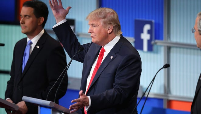 Donald Trump at the Aug. 6 GOP debate sponsored by FOX News and Facebook.