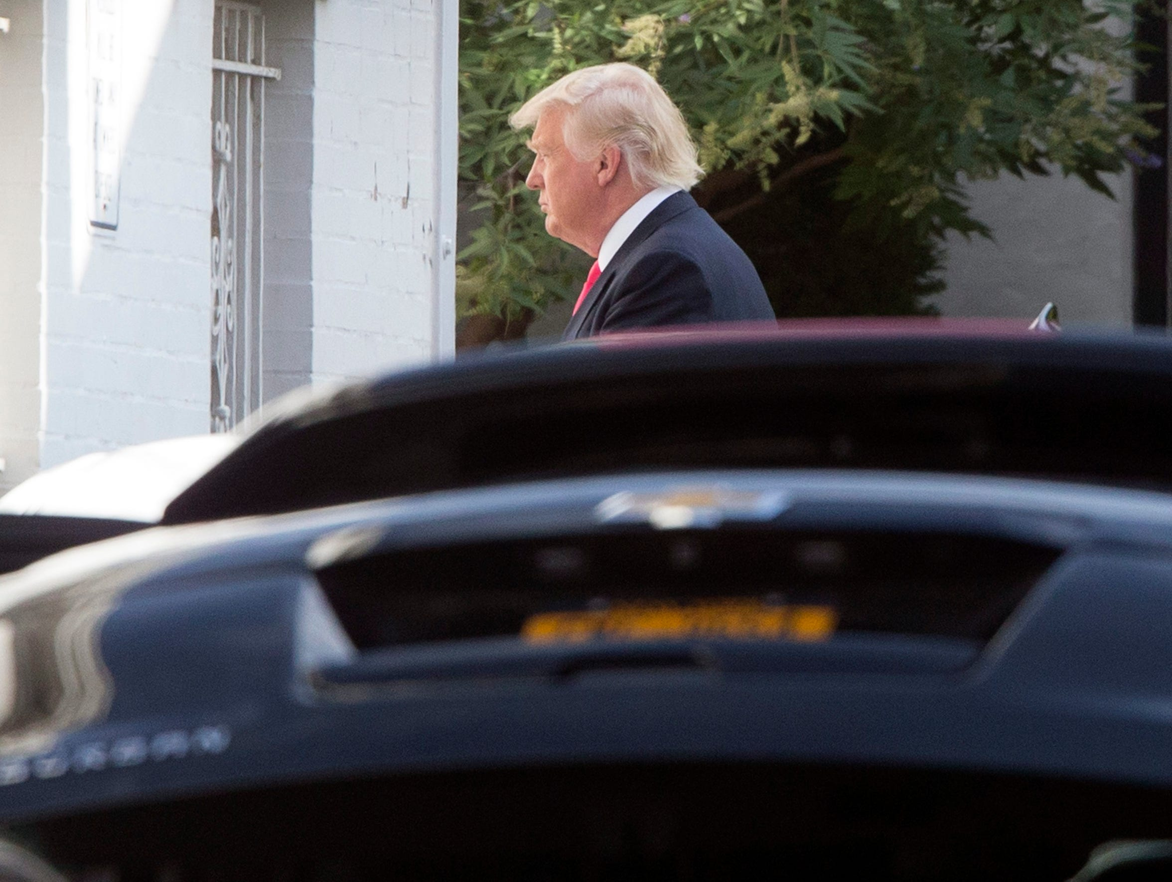 Donald Trump arrives outside the Capitol Hill Club