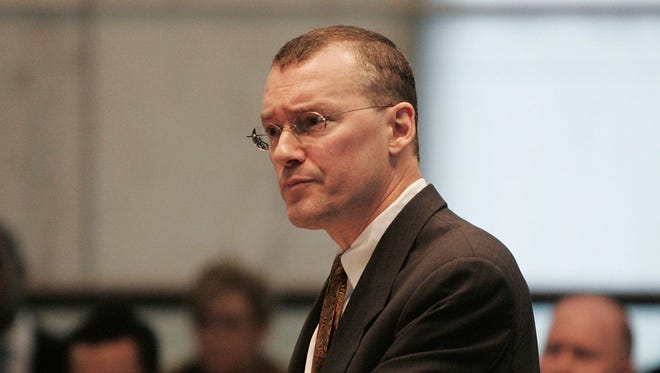 In this Feb. 15, 2006, file photo, Attorney David Buckel makes arguments in favor of gay marriage, during oral arguments seeking marriage for same-sex couples at the New Jersey Supreme Court in Trenton, N.J.