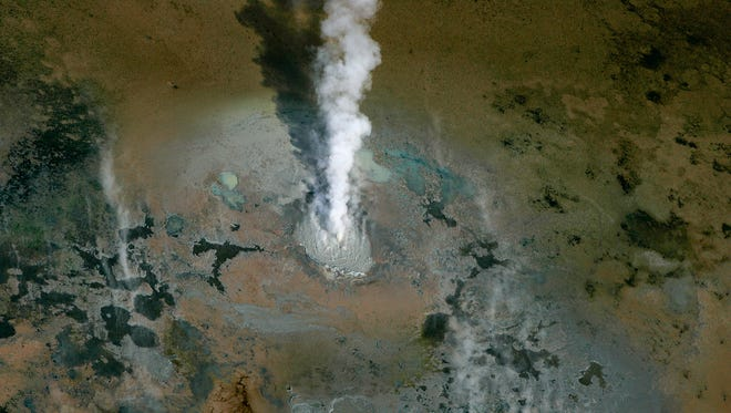 Energy from rising magma deep below the earth's surface bubbles up from geothermal hot springs just below Salton Sea's shallow muddy surface.