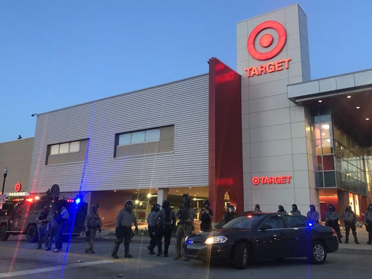 A heavy police presence outside of Pittsburgh's East Liberty Target on Monday night.