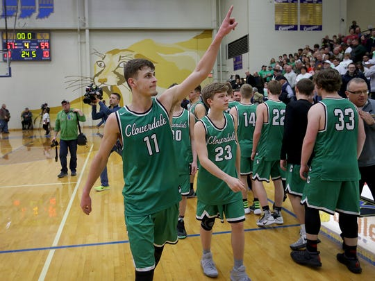 Cloverdale's Cooper Neese (11) is among the four finalists for IndyStar Mr. Basketball, presented by the Indiana Pacers.