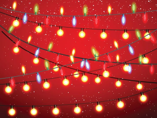 Yellow, red, green and blue garland and bulbs shine