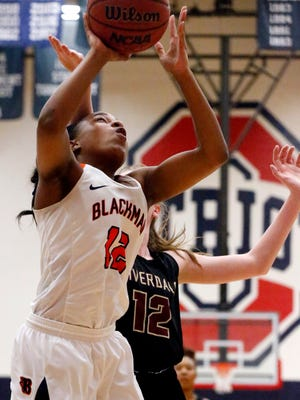 Blackman's Nia Vanzant goes up for a shot during a 2018 contest. Vanzant scored 25 in a 65-45 win over Tullahoma Tuesday.