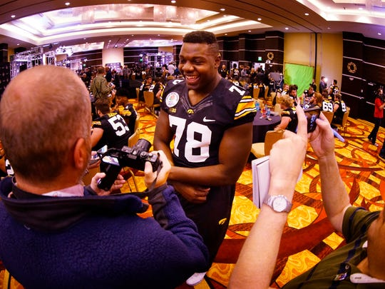 Iowa Hawkeyes offensive lineman James Daniels (78) is interviewed during Rose Bowl media day Tuesday at the LA Hotel in downtown Los Angeles.