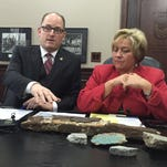 Windsor Mayor Drew Dilkens and Chief Administrative Officer Helga Reidel discuss the concrete chunks that fell from the Ambassador Bridge earlier this month.